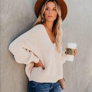 VICI Carry On Knit V-Neck fall Sweater Ivory S